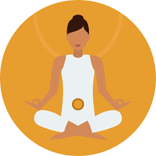 An Orange Icon with an illustration of a women in a meditation position as the virtual landlines zapier automation runs