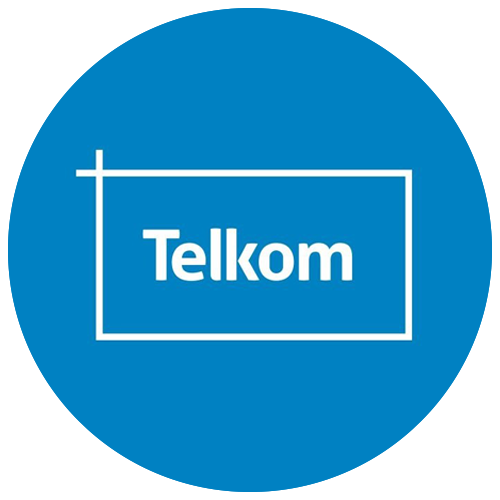Blue round icon with Telkom
