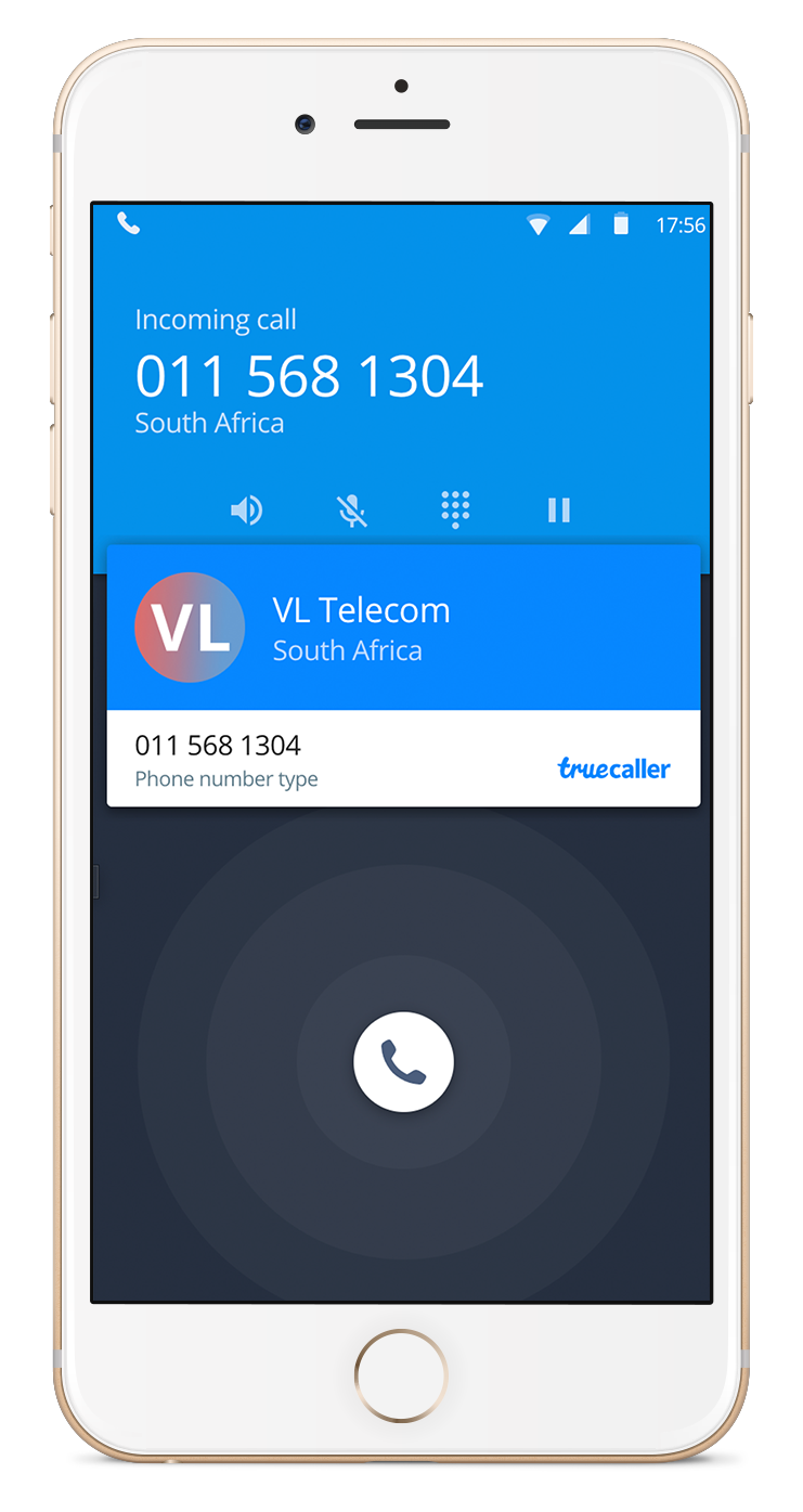 A mockup of the truecaller application containing information of the landline number purchased with Virtual Landlines