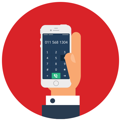 Red Mobile Landline Icon illustration
