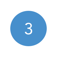 A circular blue image with the number three on it.
