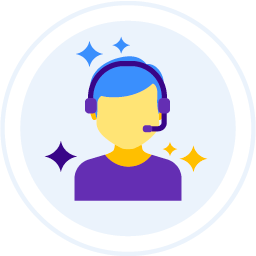 Contact Virtual Landlines by telephone represented by a flat illustration image of a call centre agent.