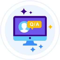 An icon representing a knowledge base website with questions and answers related to Virtual landline services.