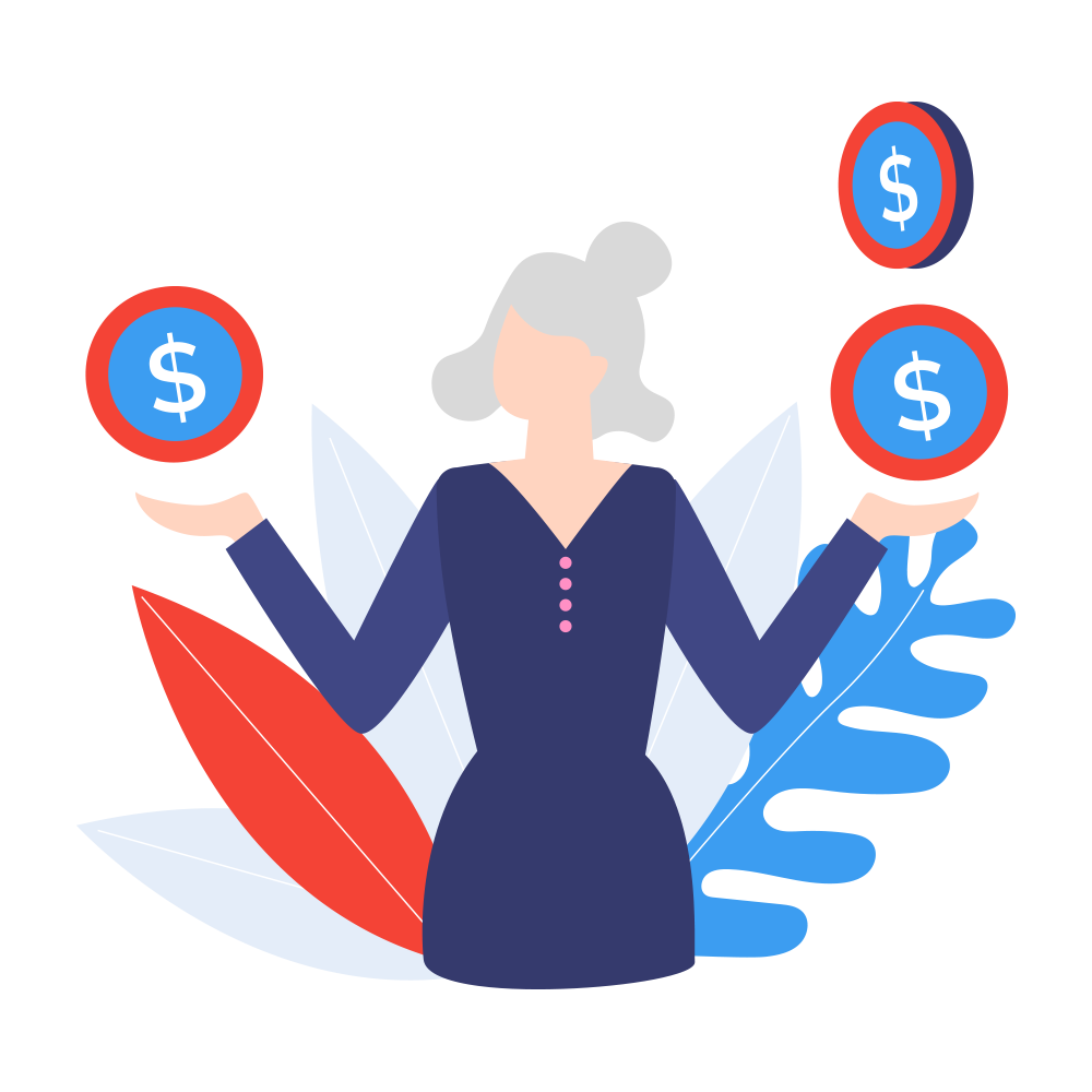 An illustration that shows a employee working in a finance department satisfied with the Virtual Landlines cost savings.