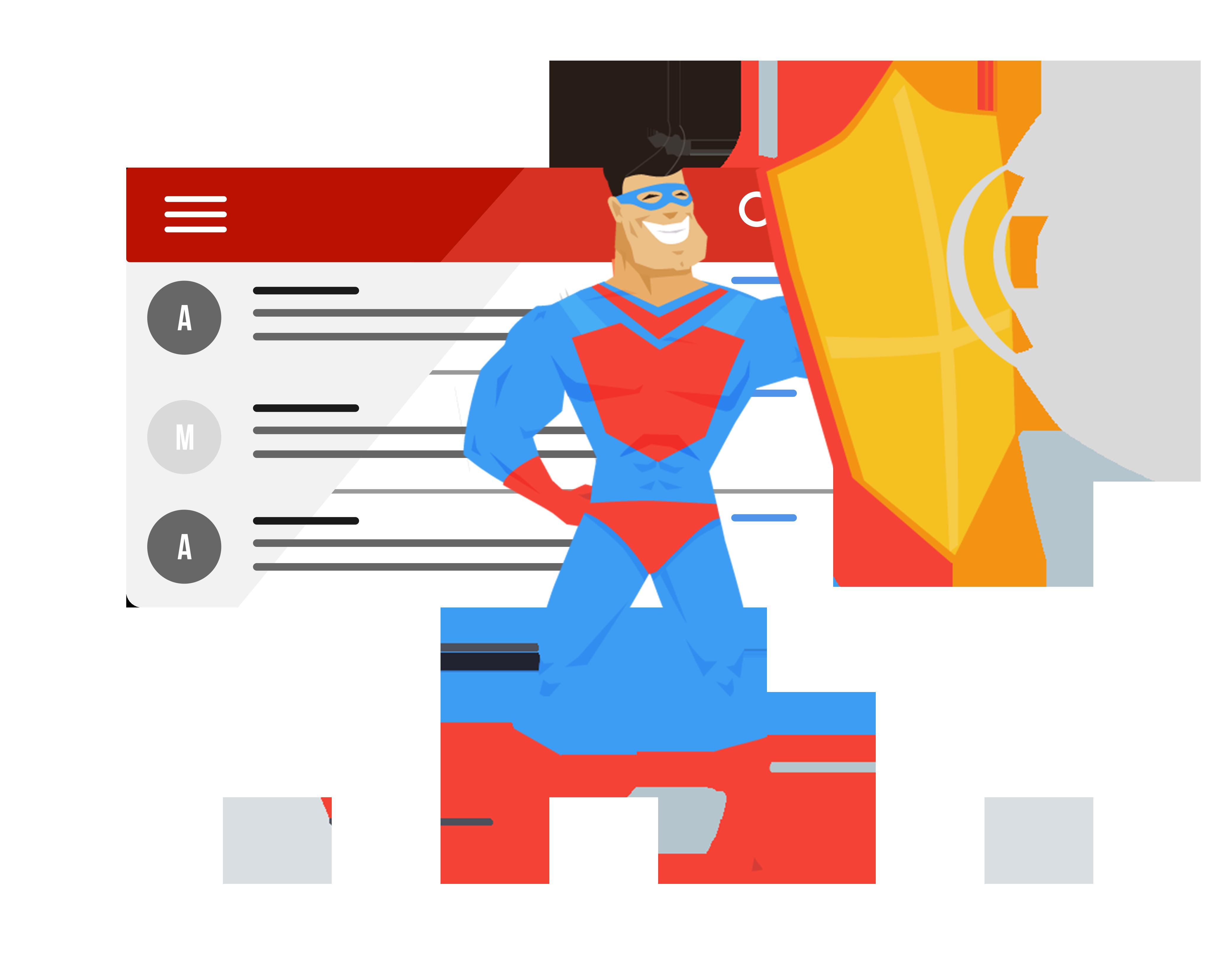 Superhero protecting exchange against malware